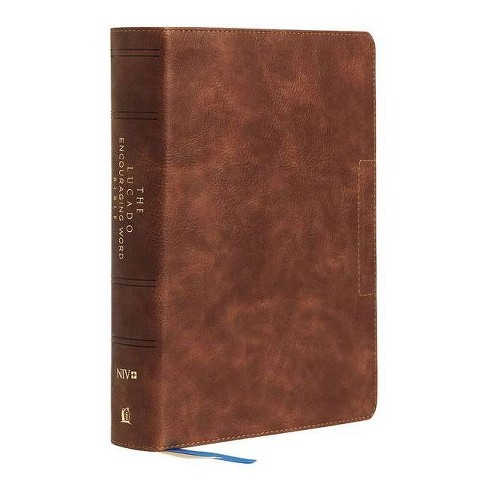 Niv, Lucado Encouraging Word Bible, Brown, Leathersoft, Thumb Indexed, Comfort Print - (Leather_bound) - image 1 of 1