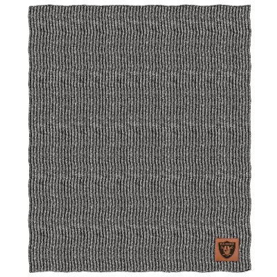 NFL Las Vegas Raiders Two- Tone Sweater Knit Blanket with Faux Leather Logo Patch