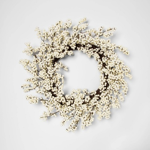 """22"""" Artificial Berry Wreath White - Threshold™ : Target"""