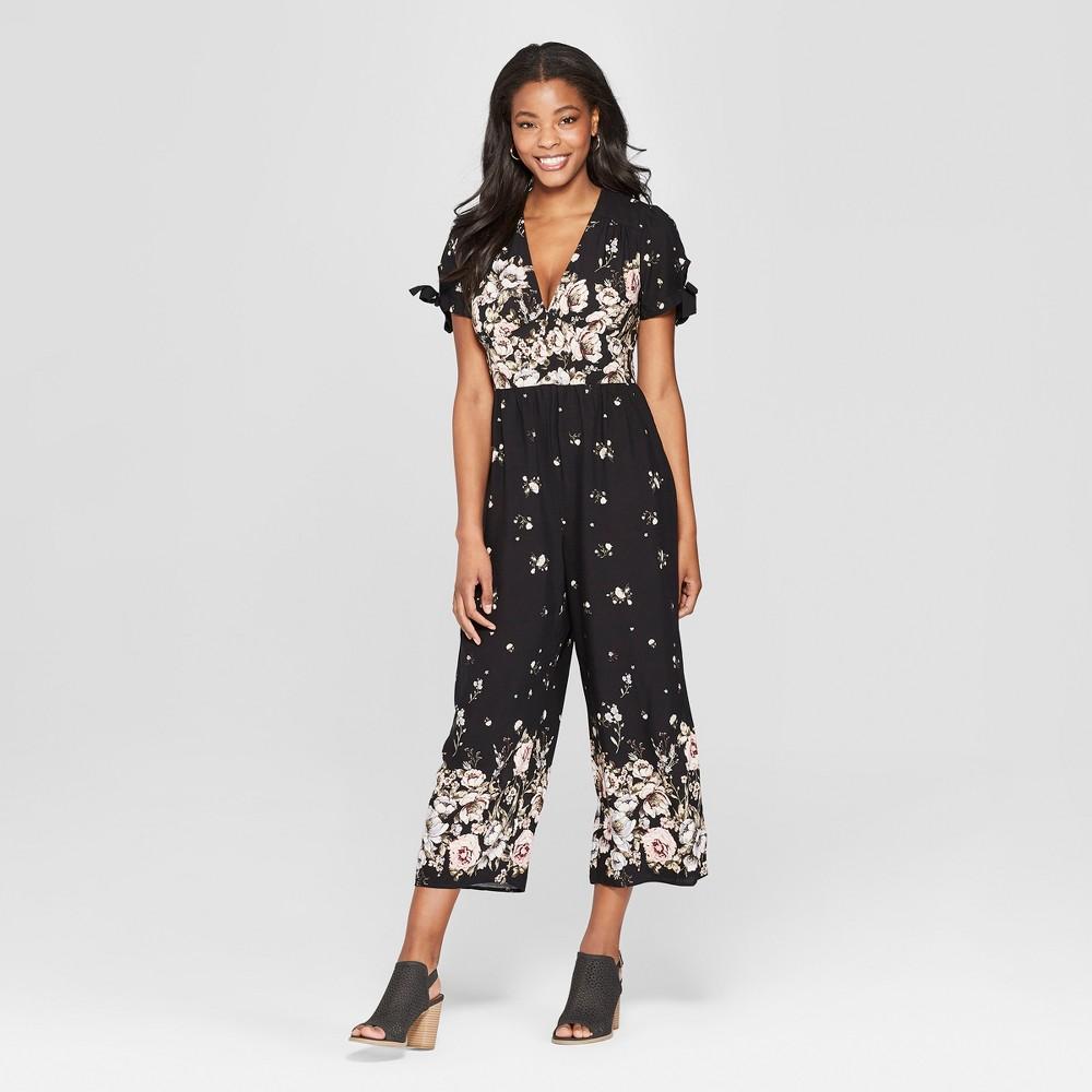 Women's Floral Print Short Sleeve V-Neck Button Front Jumpsuit - Xhilaration M, Black