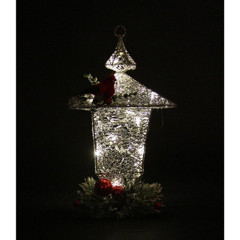 Sterling 16 Sparkling Led Lighted Silver Glittered Christmas Lantern Decoration Target