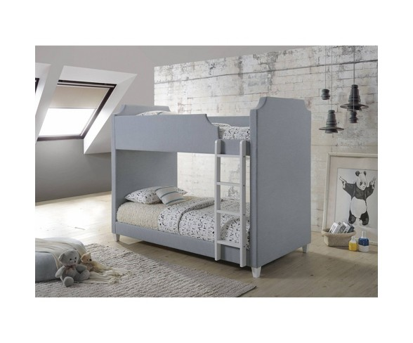 Twin Vanessa Upholstered Bunk Bed Gray Private Reserve Buy Online In Andorra At Andorra Desertcart Com Productid 136221180