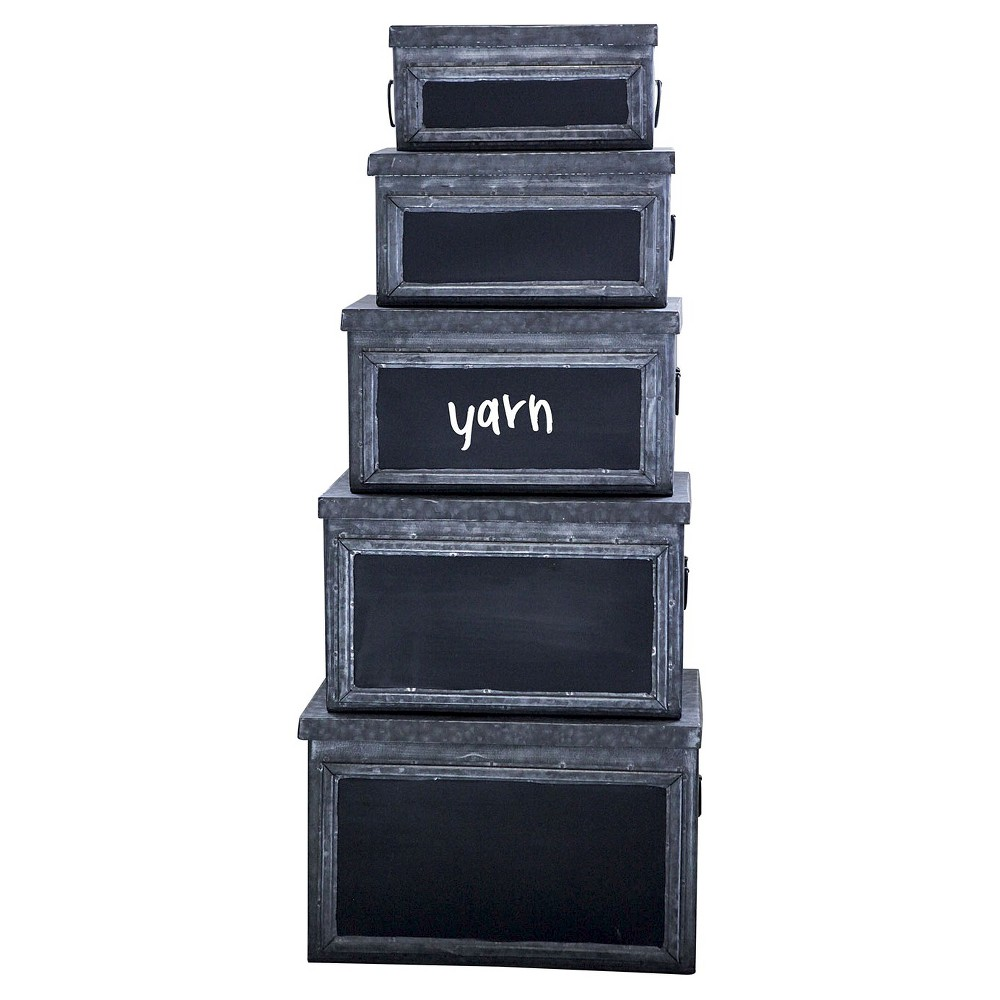 Metal Bins with Chalkboard Fronts (Set of 5)