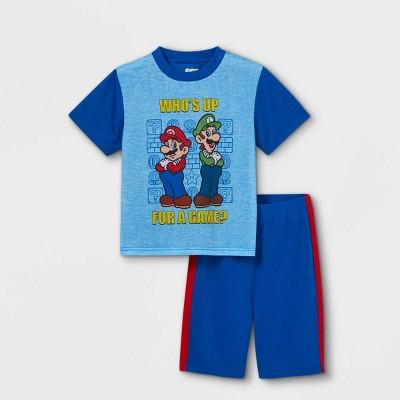 Boys' Mario Kart Mario and Luigi 2pc Pajama Set - Blue