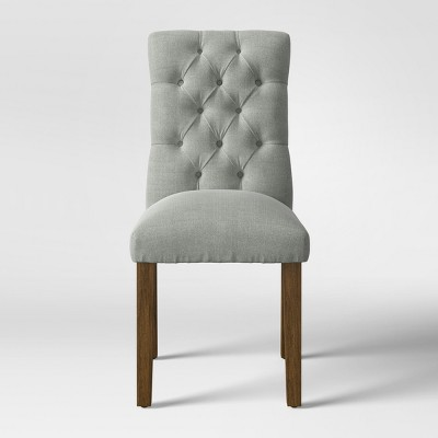 Brookline Tufted Dining Chair Glacier with Chestnut Finish - Threshold™