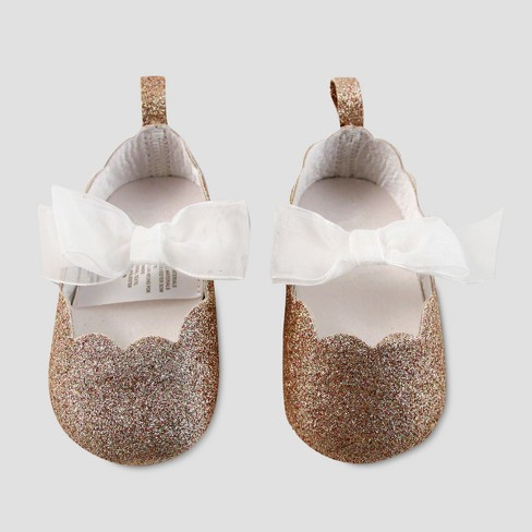 25b0ca208a541 Baby Girls' Glitter Shoes with Bow - Cat & Jack™ Gold
