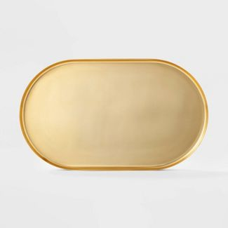 """24"""" x 14.1"""" Decorative Brass Tray Gold - Project 62™"""