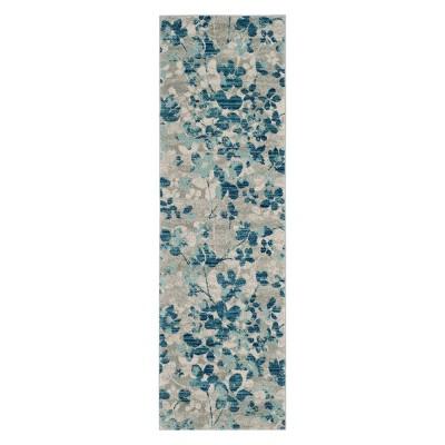 2'2 X7' Floral Runner Gray/Light Blue - Safavieh