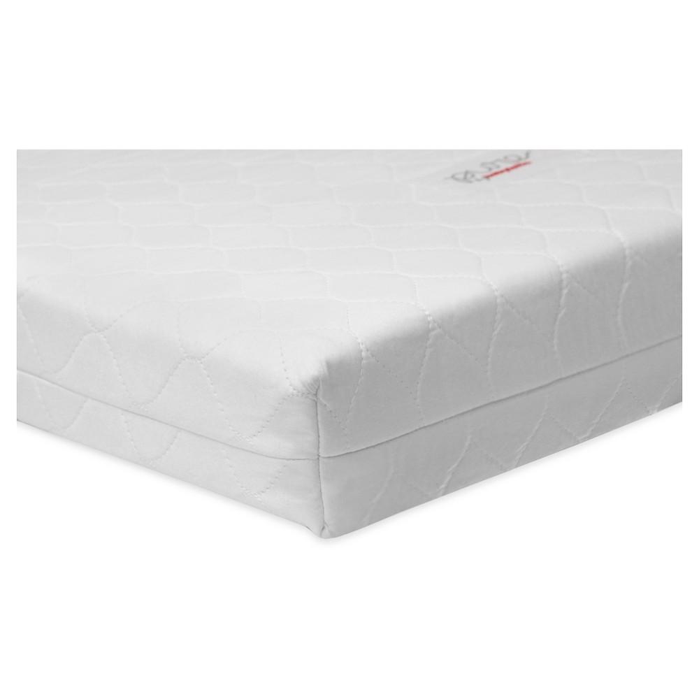 Image of Babyletto Pure Core Non-Toxic Mini Crib Mattress with Hybrid Waterproof Cover, Gray