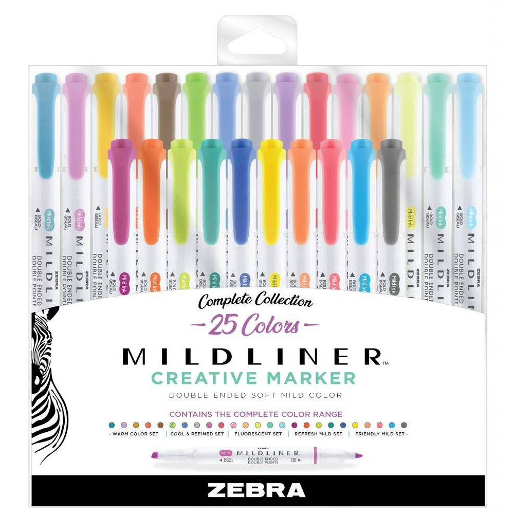 Image of 25ct Highlighters Mildliner Double Ended Standard Colors- Zebra