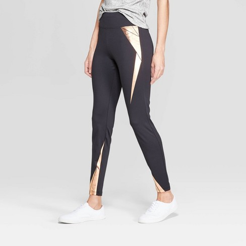 Women's Wide Waistband with Rose Gold Foil Leggings - Xhilaration™ Black - image 1 of 2