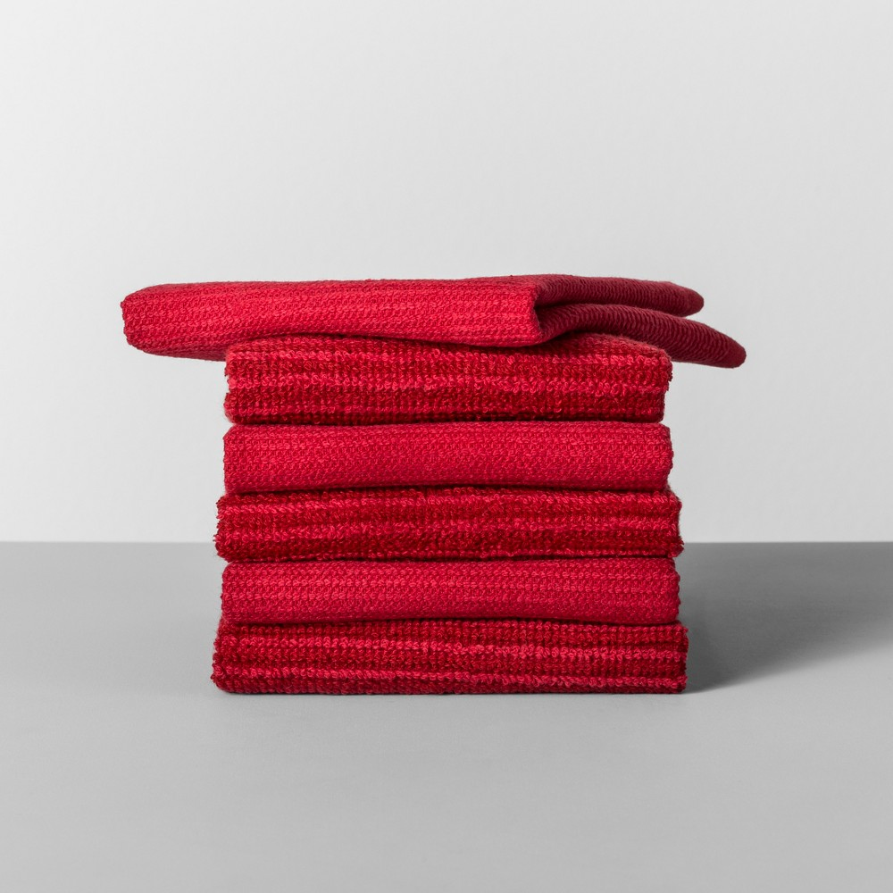 Image of 6pk Striped Dishcloth Red - Made By Design