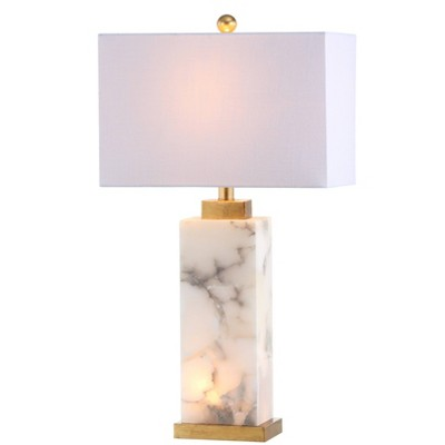 "27.5"" Elizabeth Alabaster Table Lamp (Includes LED Light Bulb) White/Gold - Jonathan Y"