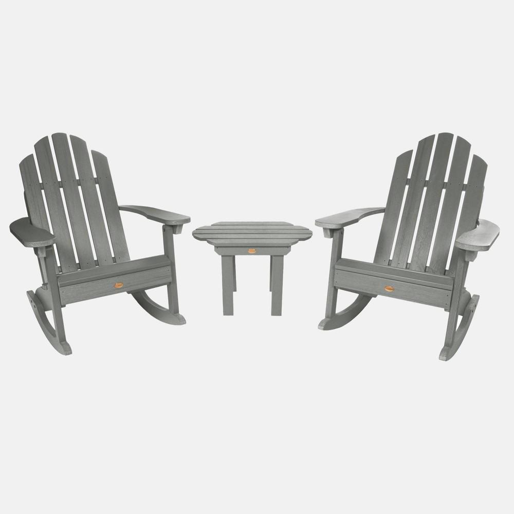 Image of 3pc Classic Westport Adirondack Rocking Chair Patio Set Coastal Teak Gray - highwood, Coastal Brown Gray