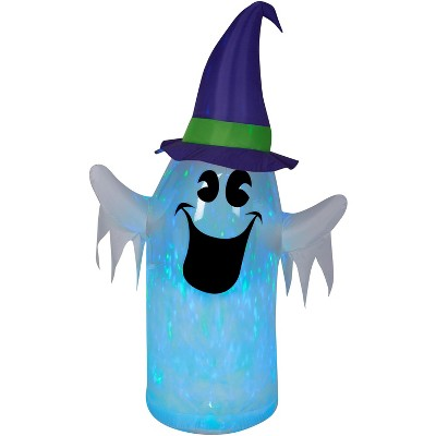 Gemmy Clear Ombre PVC Projection Airblown Kaleidoscope Ghost w/Witch Hat (BBG), 6 ft Tall