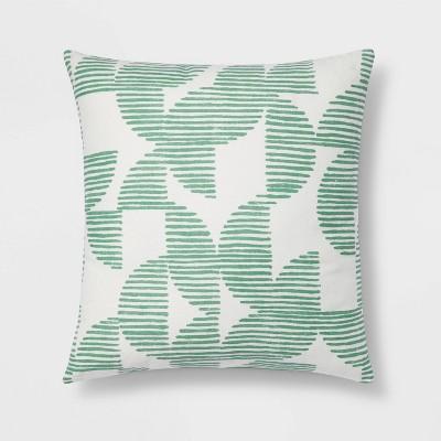 Geometric Striped Print Reverse Square Throw Pillow Green - Room Essentials™
