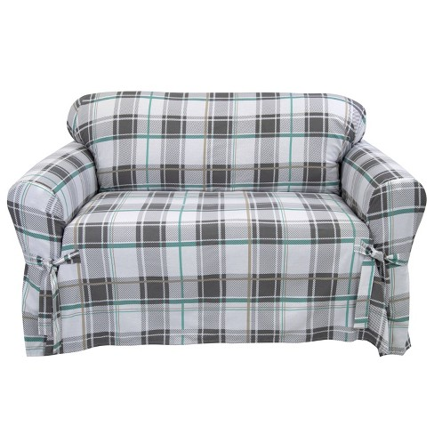 Relaxed Fit Duck Furniture Slipcover Aqua Blue - Serta - image 1 of 4