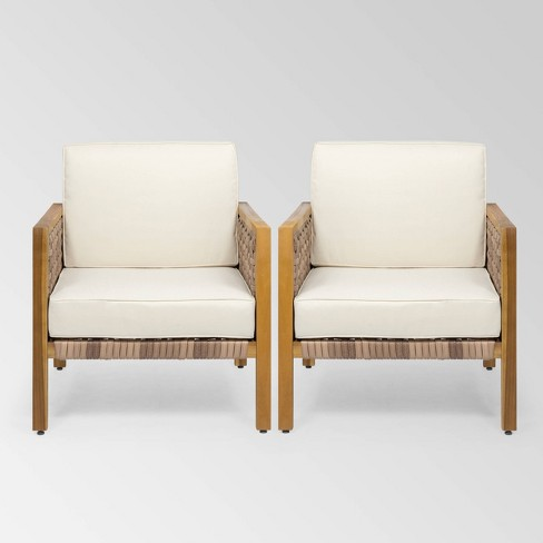 Biltmore 2pk Acacia Wood Club Chairs - Teak/Light Brown/Beige - Christopher Knight Home - image 1 of 4