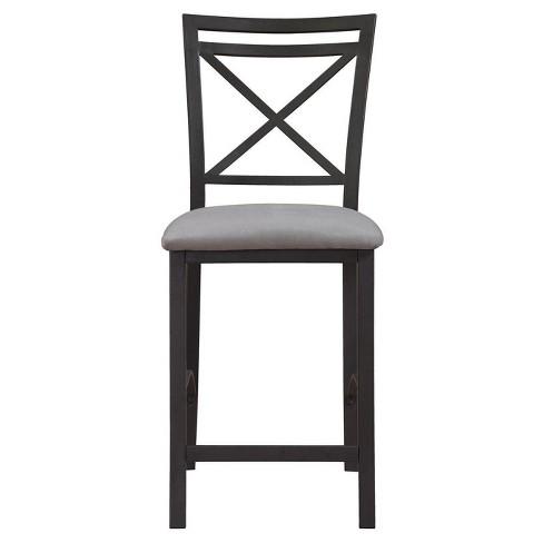 Excellent Crossback Counter Height Dining Chair Black Gray Dorel Living Spiritservingveterans Wood Chair Design Ideas Spiritservingveteransorg