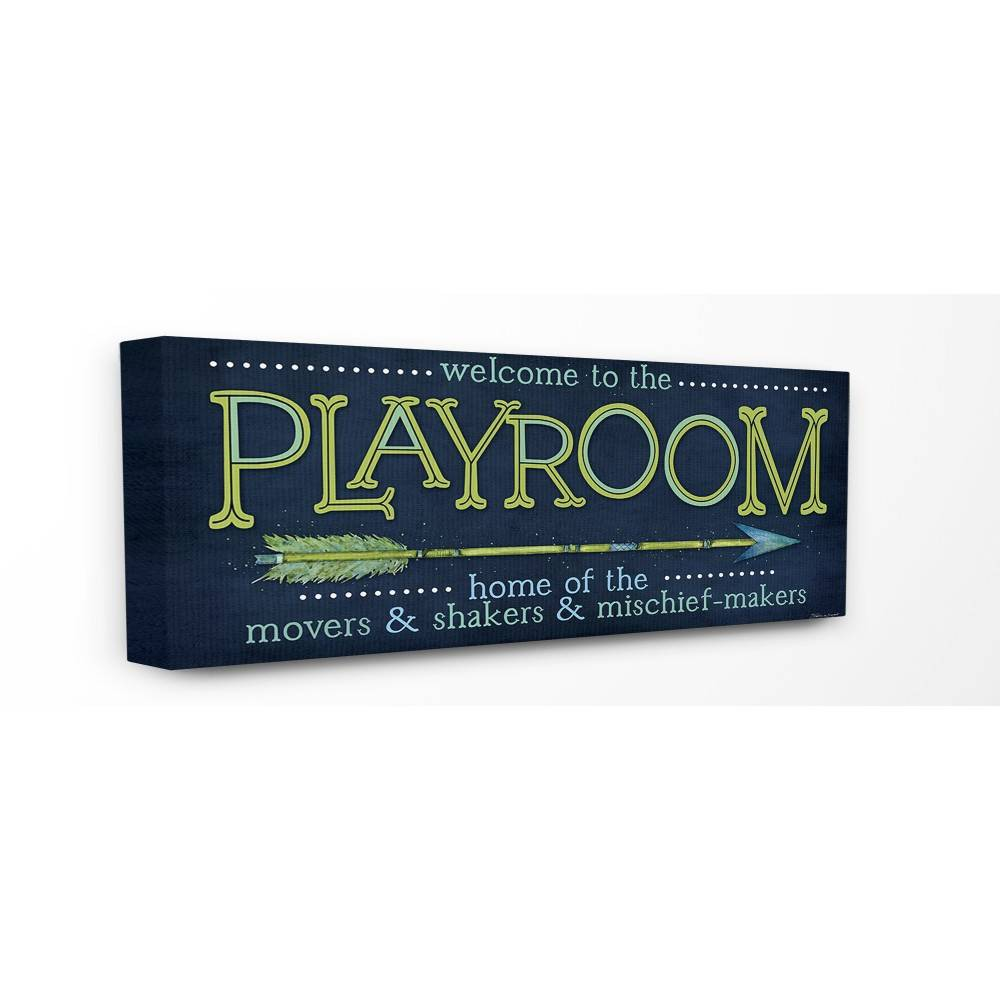 "Image of ""10""""x1.5""""x24"""" Playroom Home of Mischief Makers Stretched Canvas Wall Art Blue - Stupell Industries"""