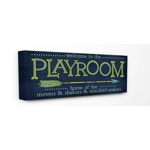 """13""""x1.5""""x30"""" Playroom Home of Mischief Makers Blue Oversized Stretched Canvas Wall Art - Stupell Industries - image 1 of 2"""