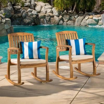 Selma 2pk Acacia Wood Rocking Chair - Teak/White - Christopher Knight Home
