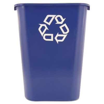 Rubbermaid Commercial Large Deskside Recycle Container w/Symbol Rectangular Plastic 41.25qt Blue