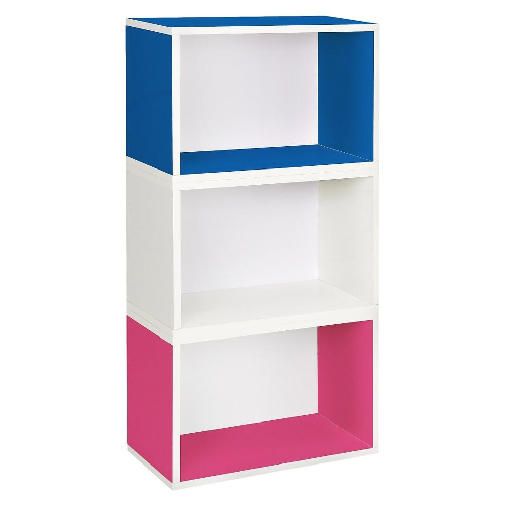 Way Basics Hillcrest 3 Stackable Rectangle Bookcase, Multi-Color - Lifetime Guarantee, Multi-Colored