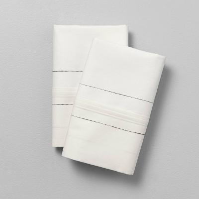 Thin Stripe Organic Cotton Pillowcase Sour Cream/Railroad Gray - Hearth & Hand™ with Magnolia