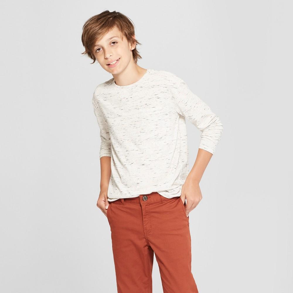 Boys' Long Sleeve Heathered T-Shirt - Cat & Jack Off-White (Beige) M