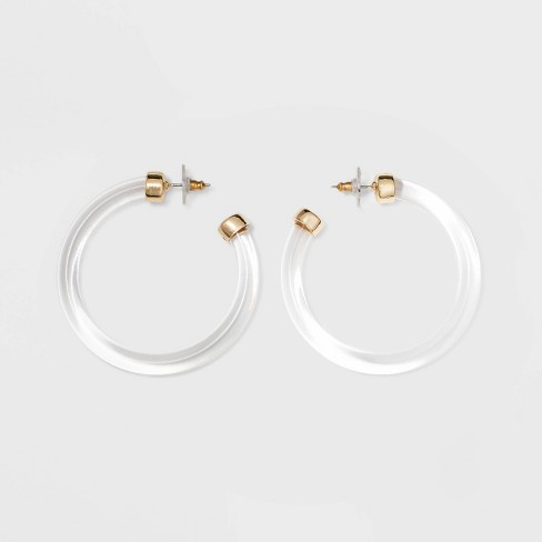SUGARFIX by BaubleBar Gold Embellishments Clear Acrylic Hoop Earrings - image 1 of 2