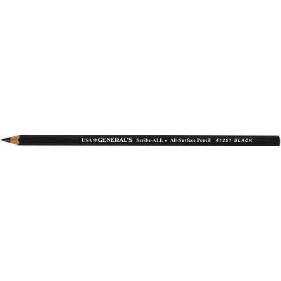General's Scribe-All Acid-Free Non-Toxic Photo-Safe Water Soluble All Surface Pencil, Black, pk of 12