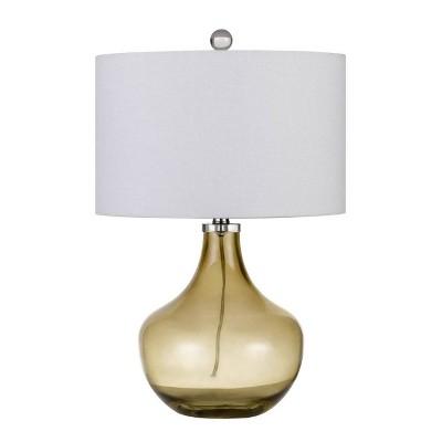 "23"" Logan Glass Table Lamp with Drum Hardback Fabric Shade Amber - Cal Lighting"