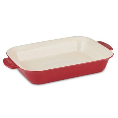 Cuisinart 2 Quart Capacity Chef's Classic Chip and Stain Resistant Ceramic Rectangular Casserole Dish Bakeware with Oversized Side Carry Handles, Red