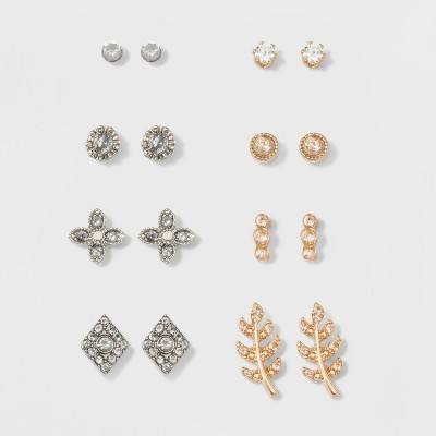 Multi Stud Earrings 8ct - A New Day™ Gold/Silver