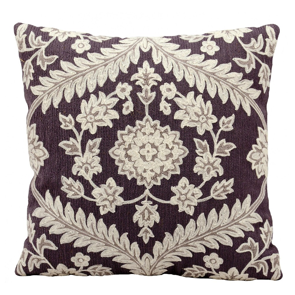 "Image of ""Ivory/Plum Dynasty Throw Pillow (18""""x18"""") - Nourison"""