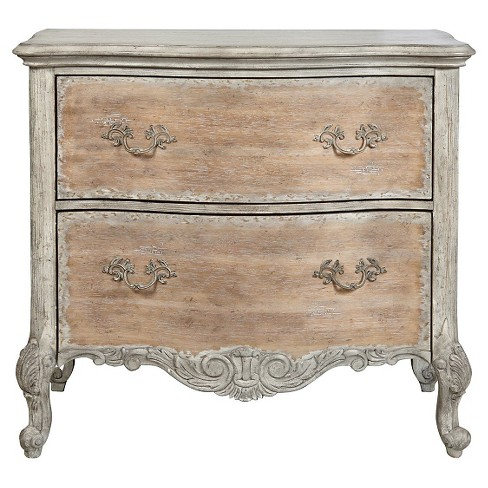 Monaco Distressed Accent Chest with Two Drawers White Natural Distressed - Home Meridian - image 1 of 2