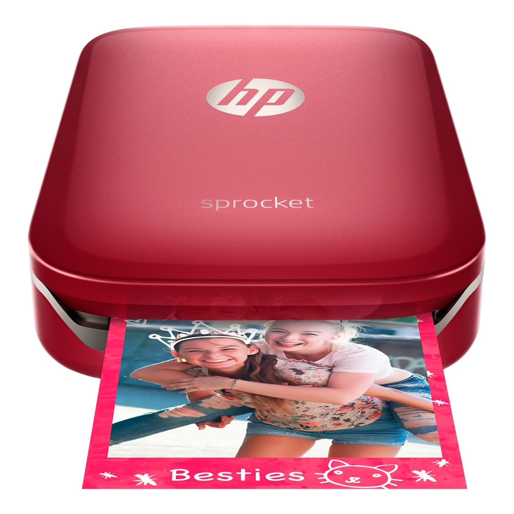 HP Sprocket Photo Printer Red Z3Z93A_B1H Click amazing pictures and take instant prints with this innovative Sprocket Photo Printer from HP. This cool pocket printer lets you print photos from Android smartphones or iPhone via the Sprocket app. What's more? It does not require any ink to print photos. All you need is the 2/3 Zink papers and you can print as many photos as you like. So, go ahead make more memories with your loved ones. Color: Red.