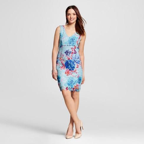 4cf1bad9ed14 Women's Floral Sheath Dress Blue 12 - Spenser Jeremy : Target