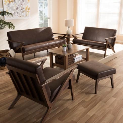 Modern Walnut Living Room Furniture bianca mid modern walnut wood distressed faux leather livingroom
