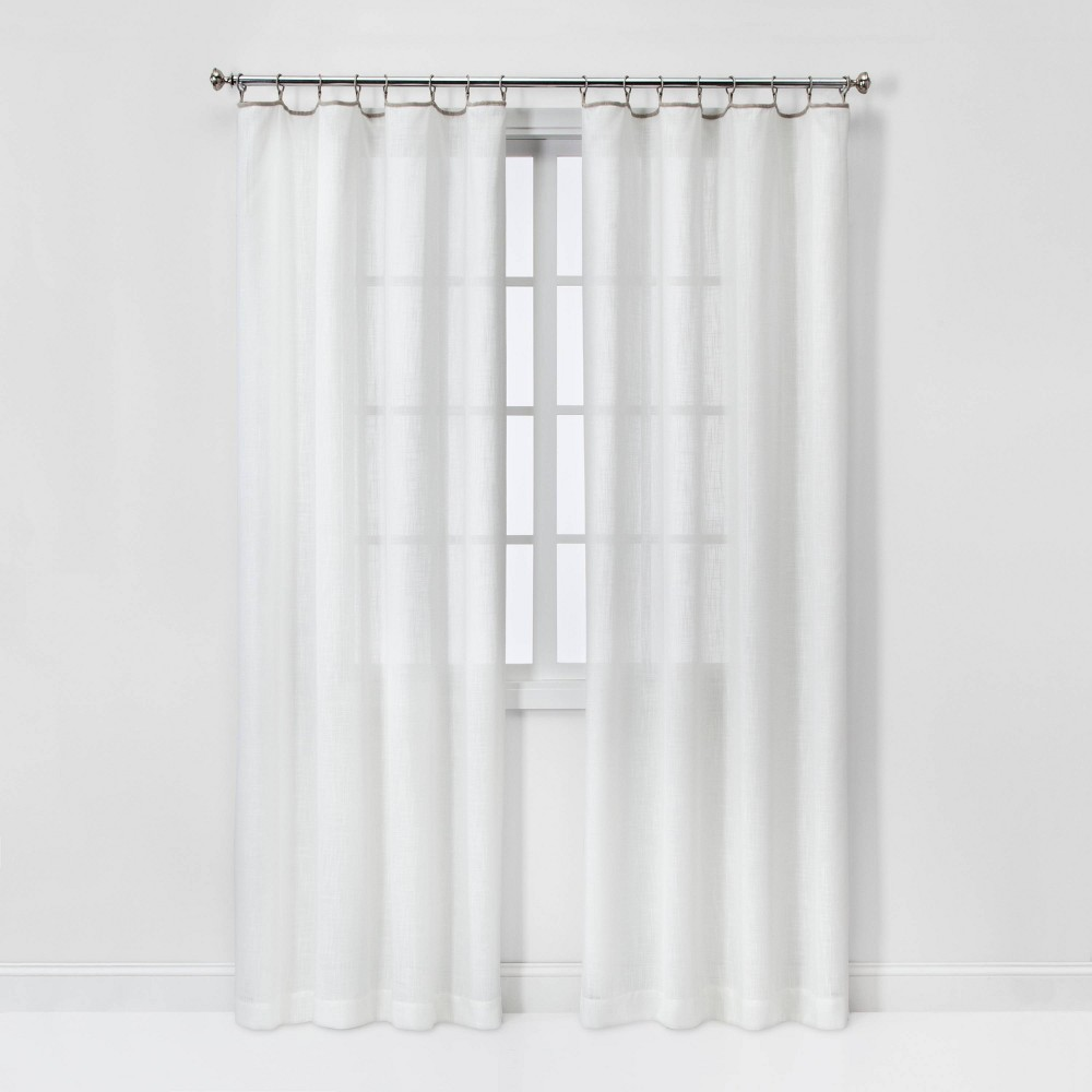 108 34 X54 34 Contrast Edge Solid Sheer Window Curtain Panel White Natural Threshold 8482