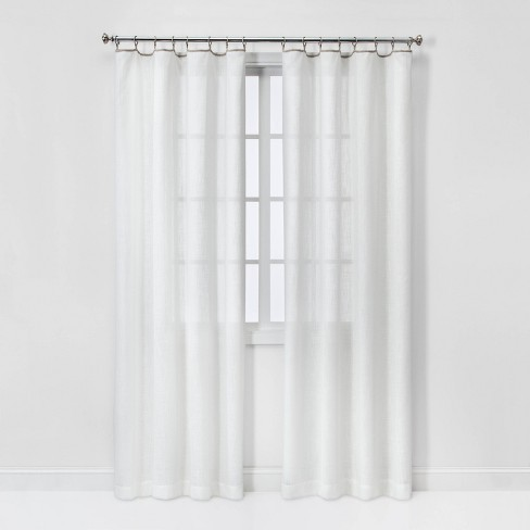 Sheer Contrast Edge with Rings Curtain Panels - Threshold™ - image 1 of 3