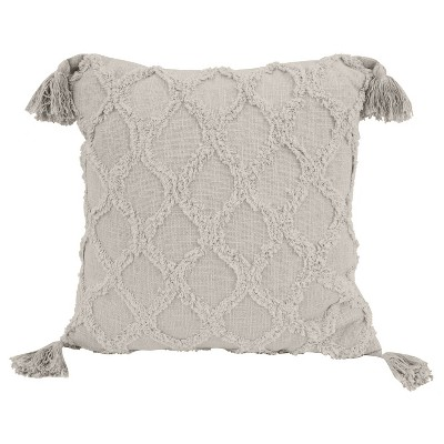 "18""x18"" Sally Knit Cotton Tassel Square Throw Pillow - Décor Therapy"
