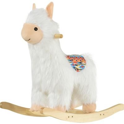 Qaba Kids Ride-On Rocking Horse Toy Llama Style Rocker Soft Plush Fabric for Children 18-36 Months