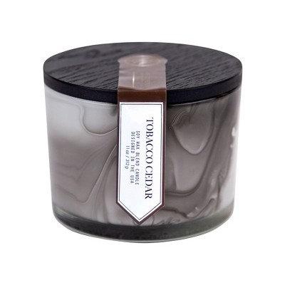 11oz Marbled Coffee Table Candle Tobacco Cedar - The Collection by Chesapeake Bay Candle