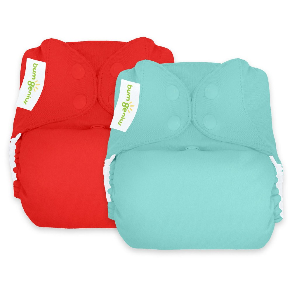 BumGenius Reusable Diaper Set Abstract Turquoise Red, Mirror/Pepper