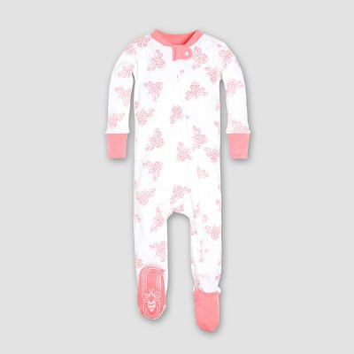 Burt's Bees Baby® Girls' Organic Cotton Snuggle Bee Footed Pajama Sleeper - Lily 6-9M