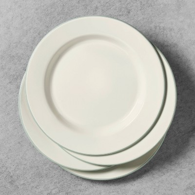 4pk Enamelware Dinner Plate Sour Cream with Silver Rim - Hearth & Hand™ with Magnolia