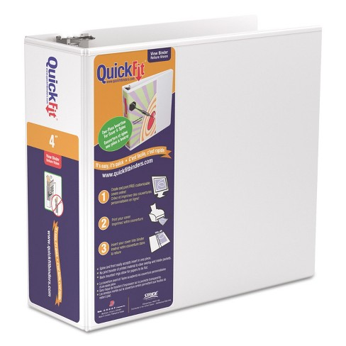 """Stride QuickFit D-Ring View Binder 4"""" Capacity 8 1/2 x 11 White 87060 - image 1 of 3"""