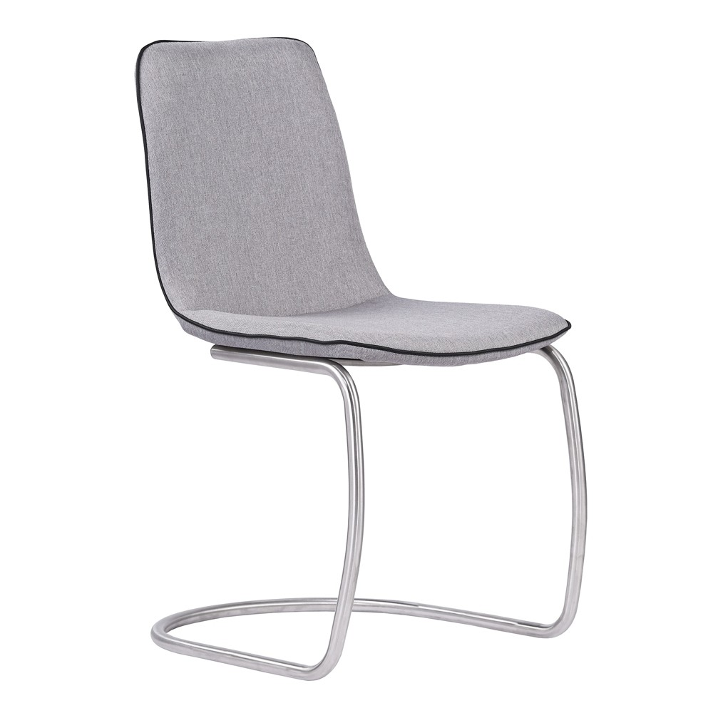 Armen Living Set of 2 Brittany Contemporary Dining Chair Pewter (Silver)